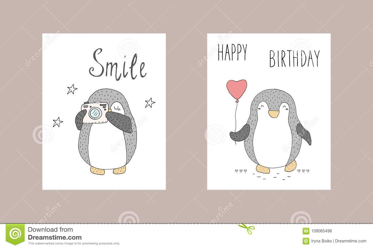 image about Penguins Printable called Lovable Hand Drawn Card With Penguins. Printable Templates