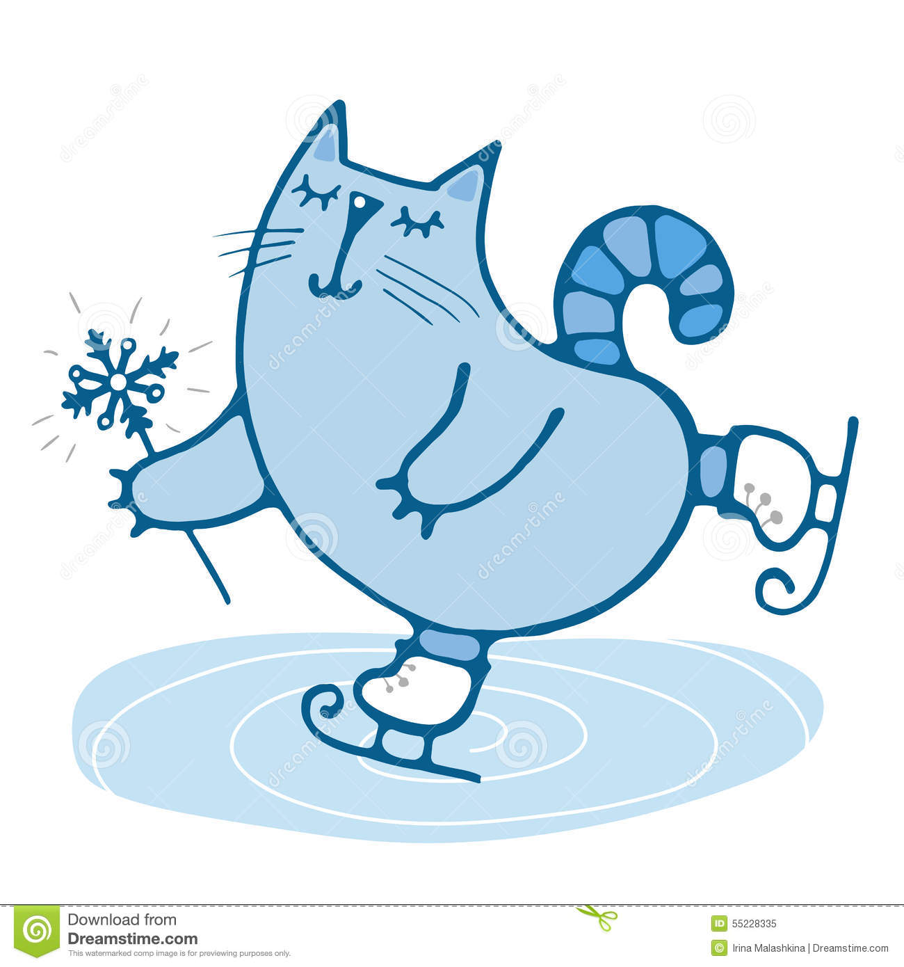Cute Hand-drawn Cat Skates Stock Vector - Image: 55228335 Raccoon Drawing