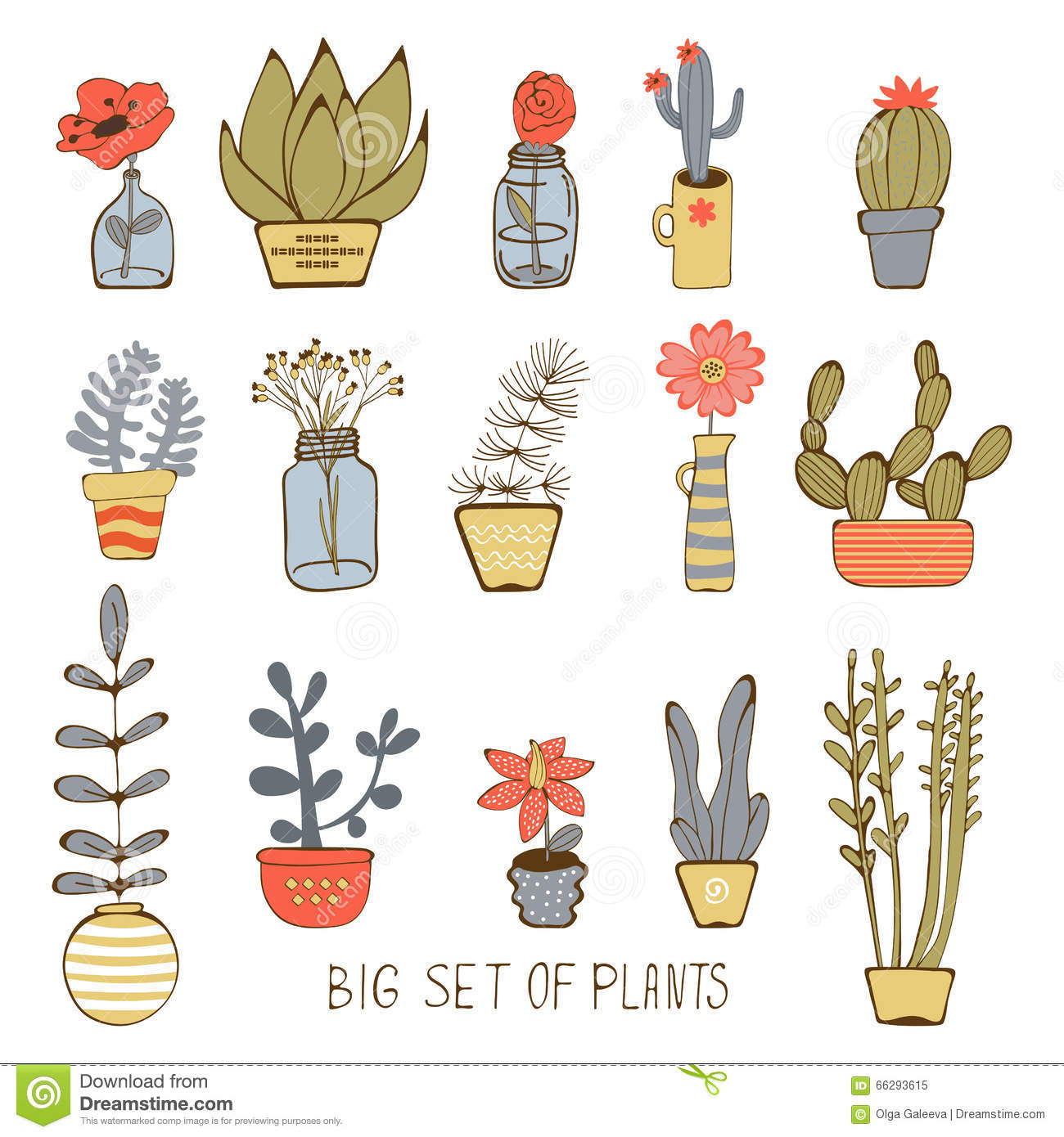Cute Hand Drawn Collection Of House Plants Stock Vector Illustration Of Decorative Green 66293615