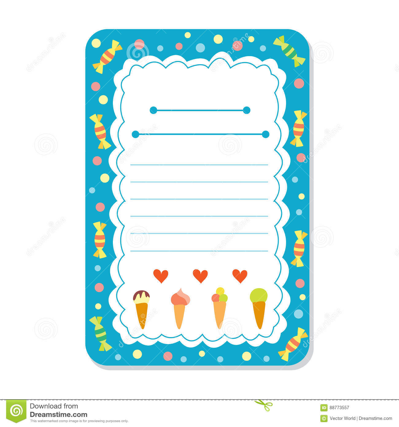 Cute Hand Drawn Doodle Birthday Party Baby Shower Card Brochure