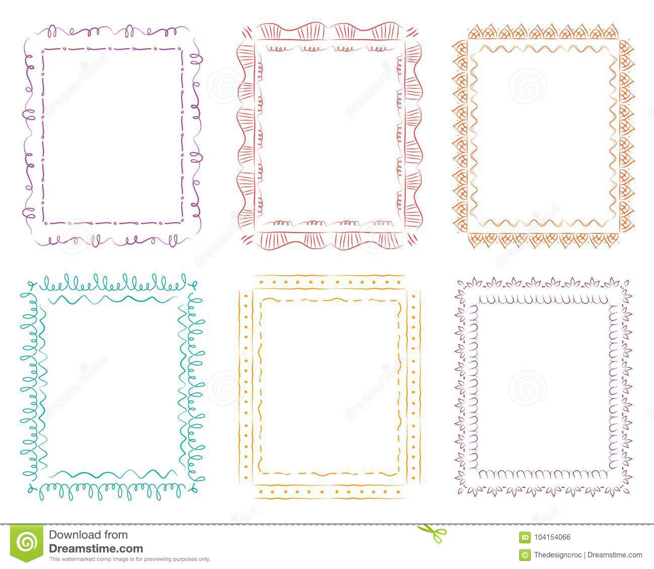 9f0afbc2b03a Cute Hand-drawn Doodle Frames Color Vector Isolated White Background ...