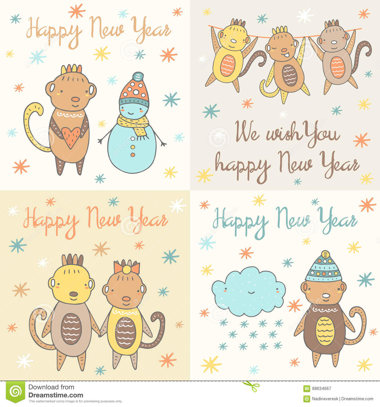 cute hand drawn doodle happy new year cards