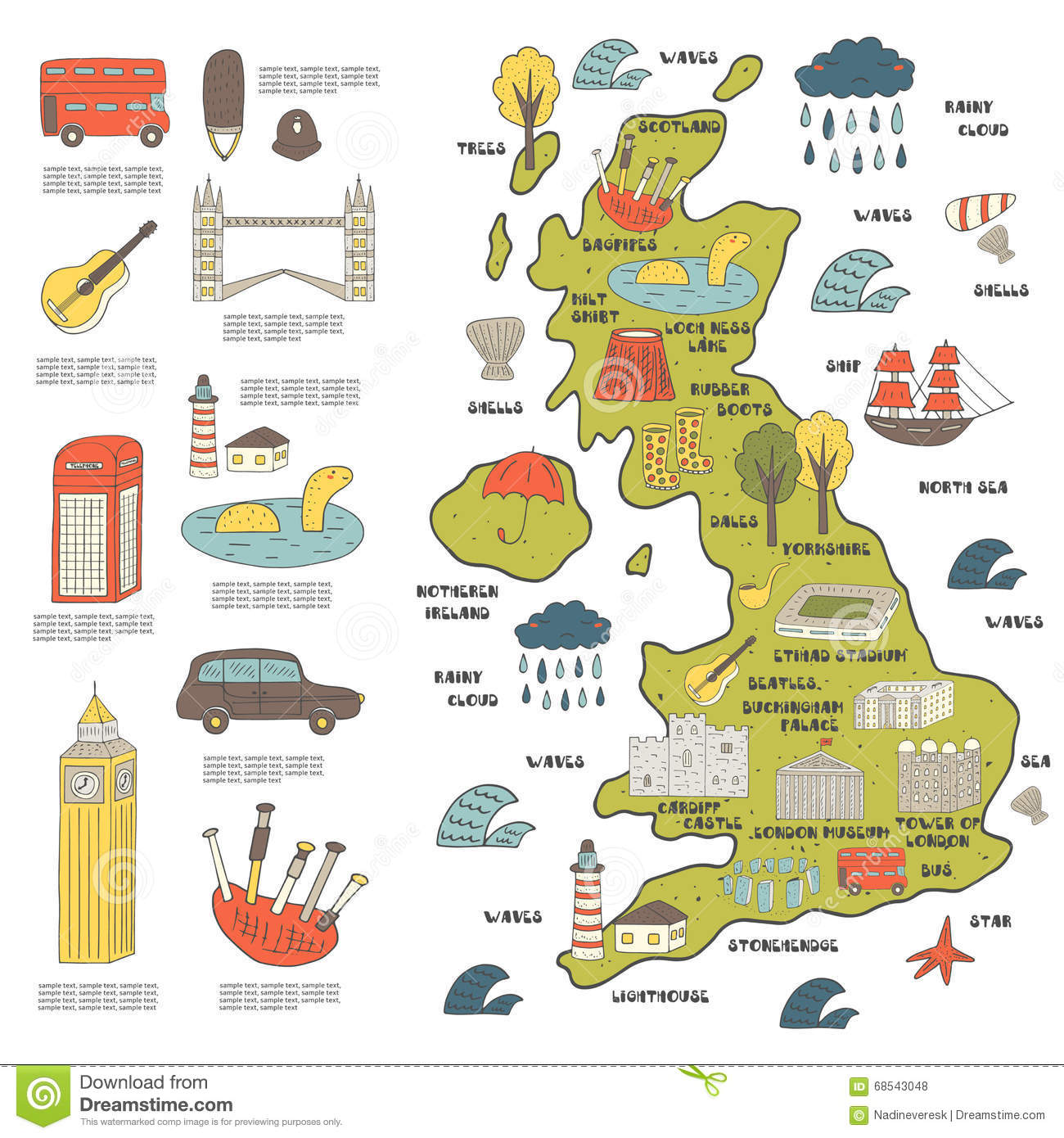 Cute Hand Drawn Doodle Map Of England Vector Image 68543048 – England Tourist Attractions Map