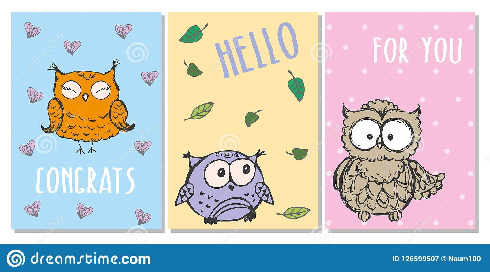 Cute hand drawn greeting cards with owls stock vector illustration download cute hand drawn greeting cards with owls stock vector illustration of doodle holiday m4hsunfo