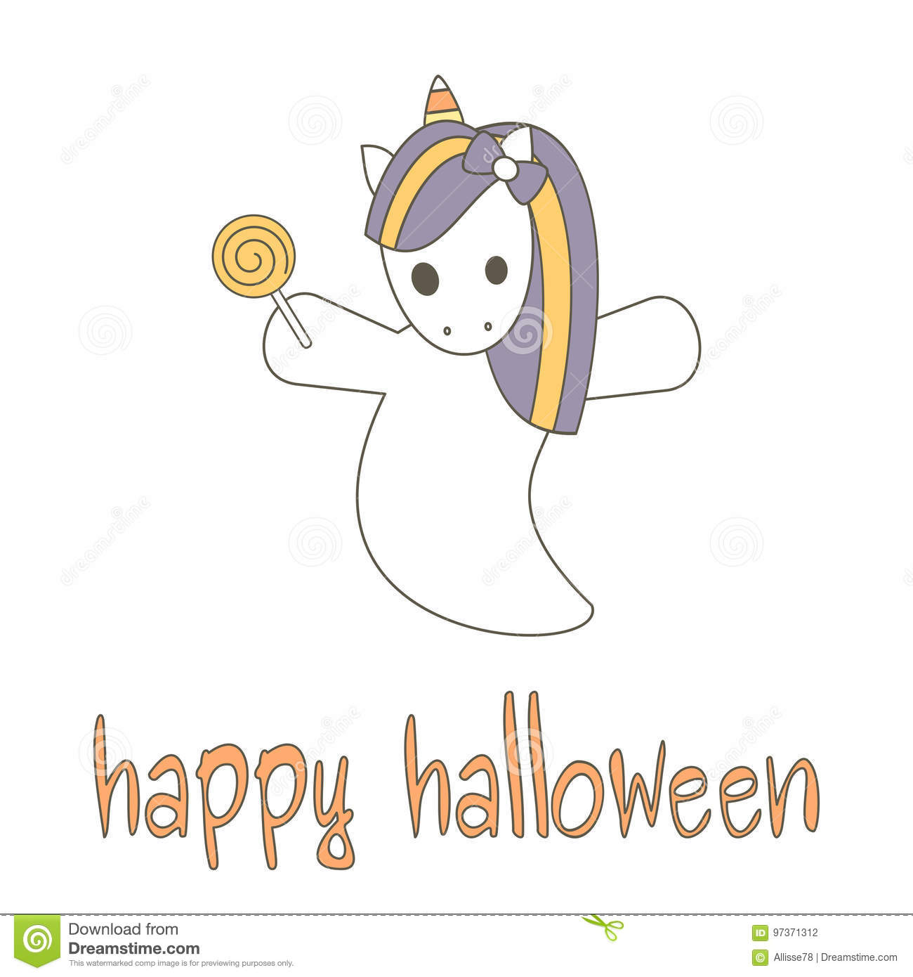 Cute Hand Drawn Happy Halloween Lettering Vector Card With ...