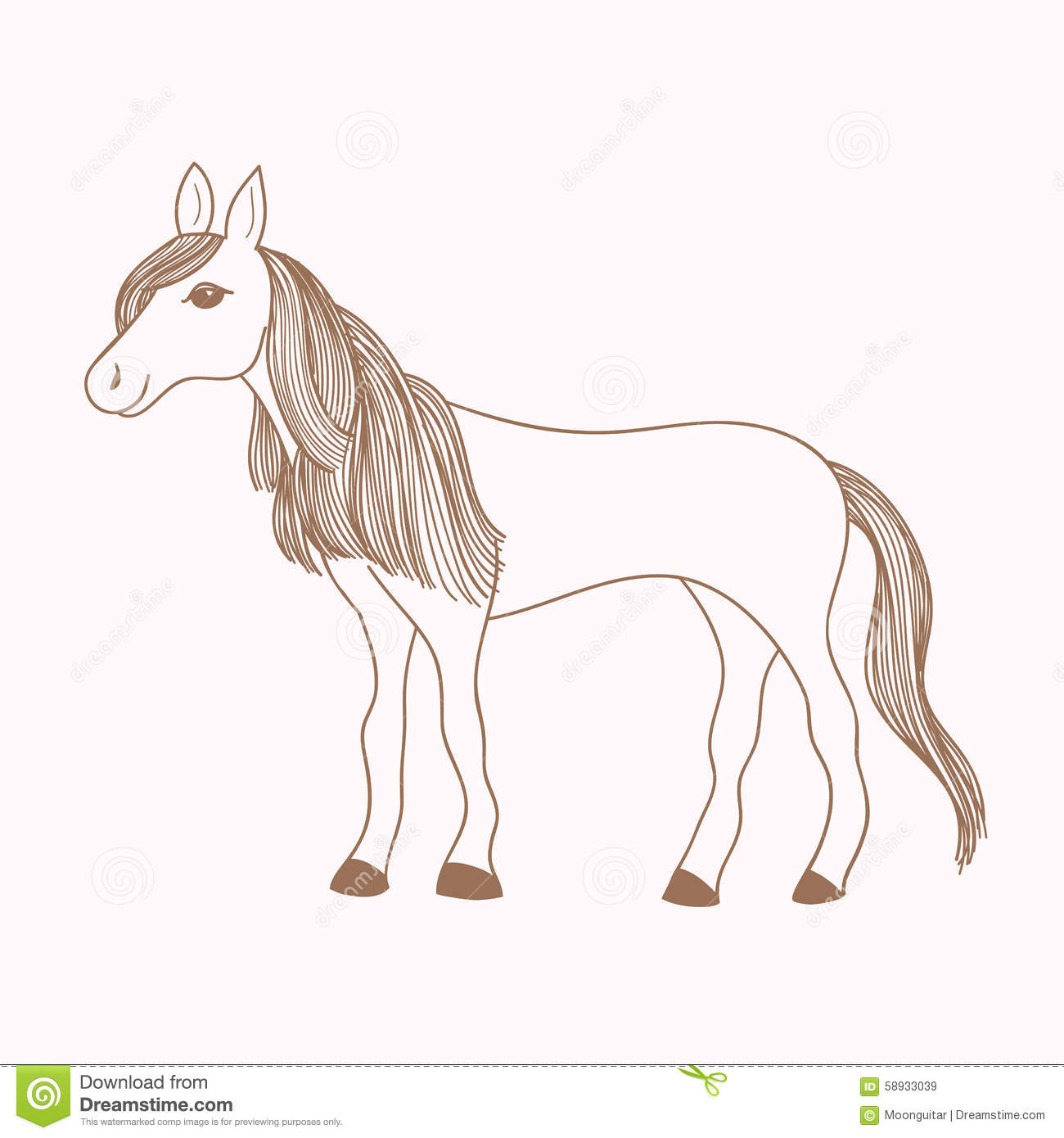 Stock Illustration Cute Hand Drawn Horse Drawing Mare Long Mane Tail Vector Illustration Image58933039 on mustang drawings