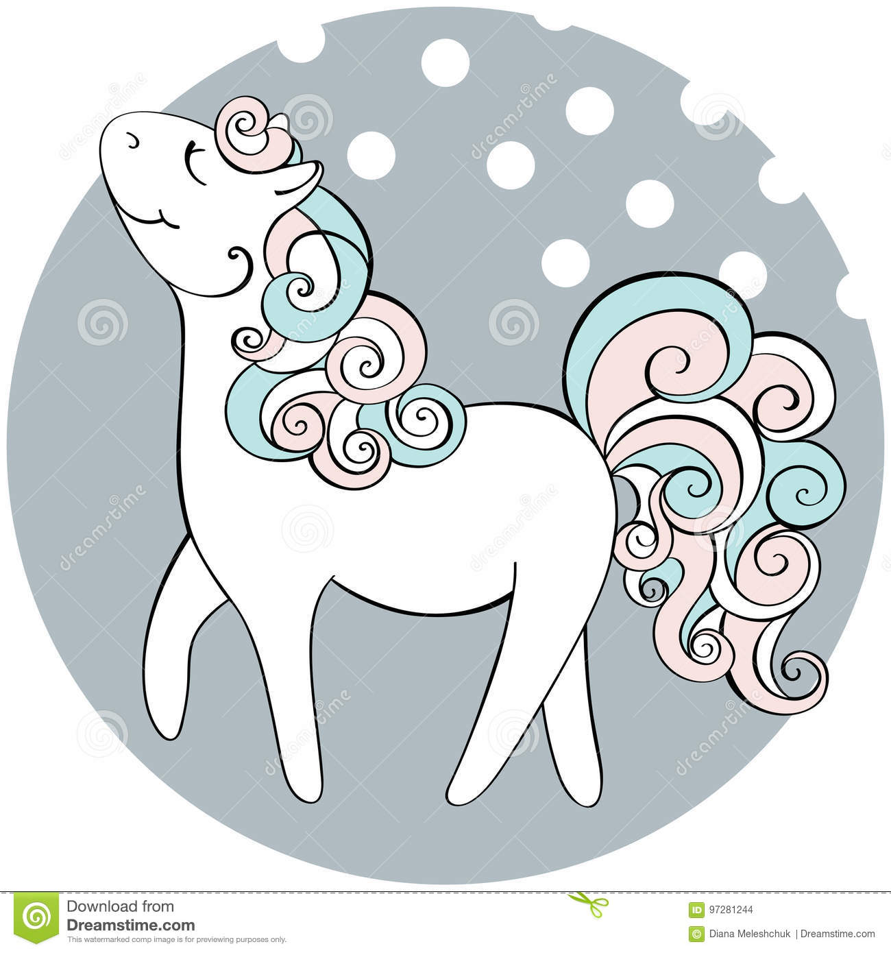 Cute Hand Drawn Horse Vector Doodle Illustration Stock Vector Illustration Of Fabric Horse 97281244
