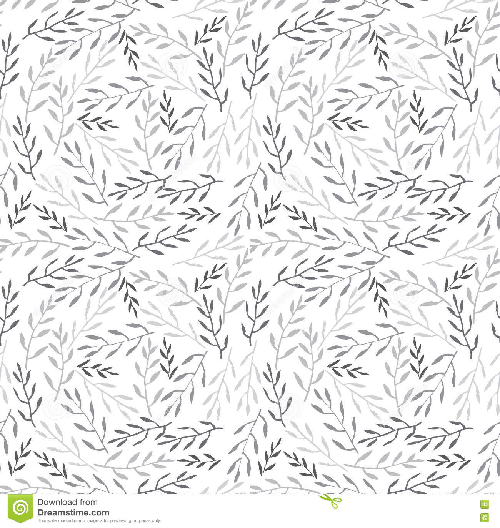 Cute hand drawn Leaves ornament. Monochromel Vector seamless pattern.