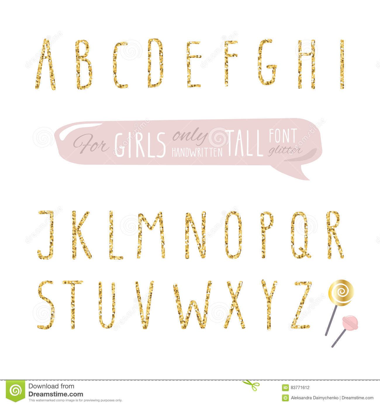 Download Cute Hand Drawn Narrow Glitter Font For Girls Tall Shiny Alphabet Doodle Written