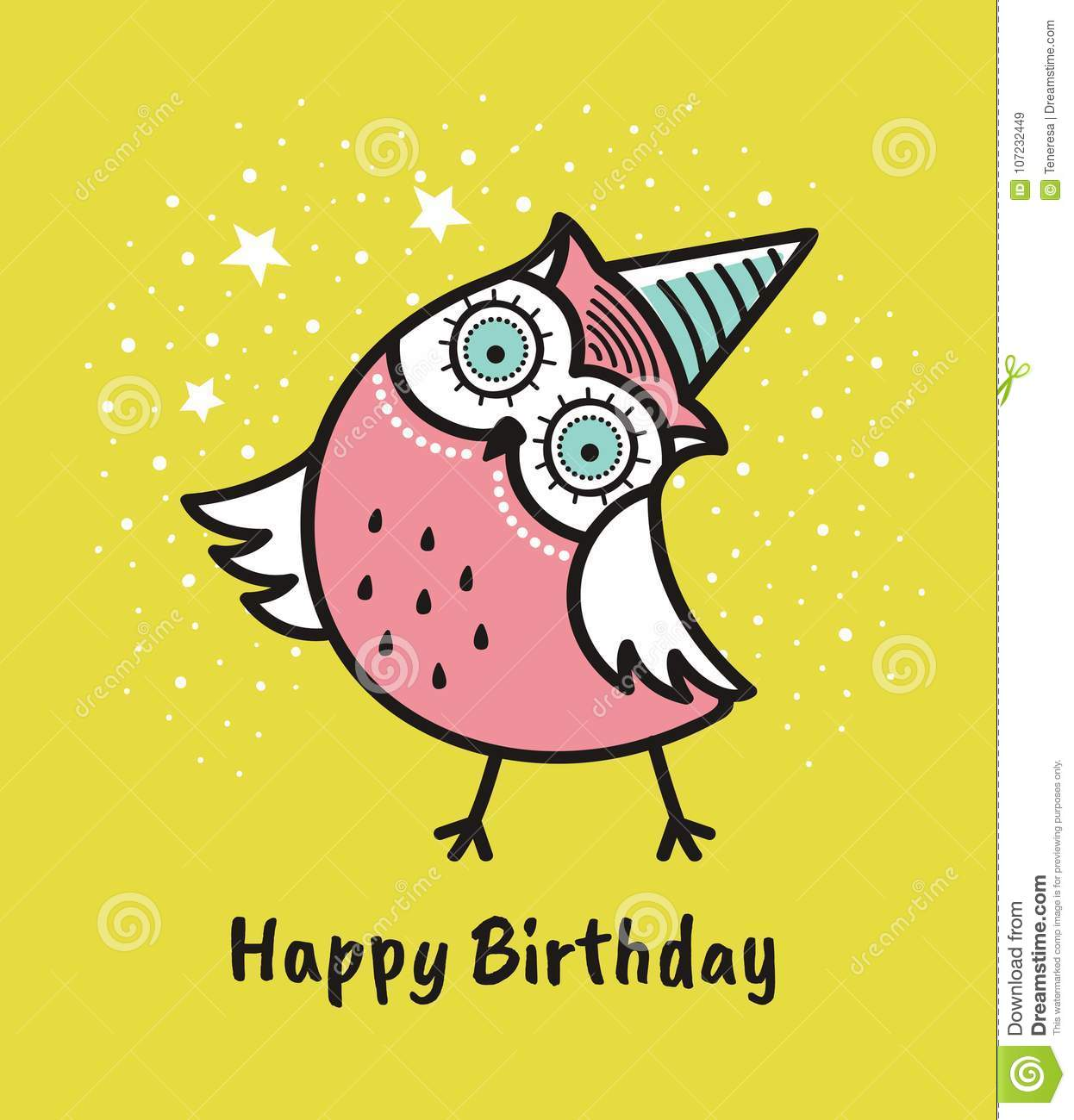 Cute hand drawn owl with quote. Happy birthday