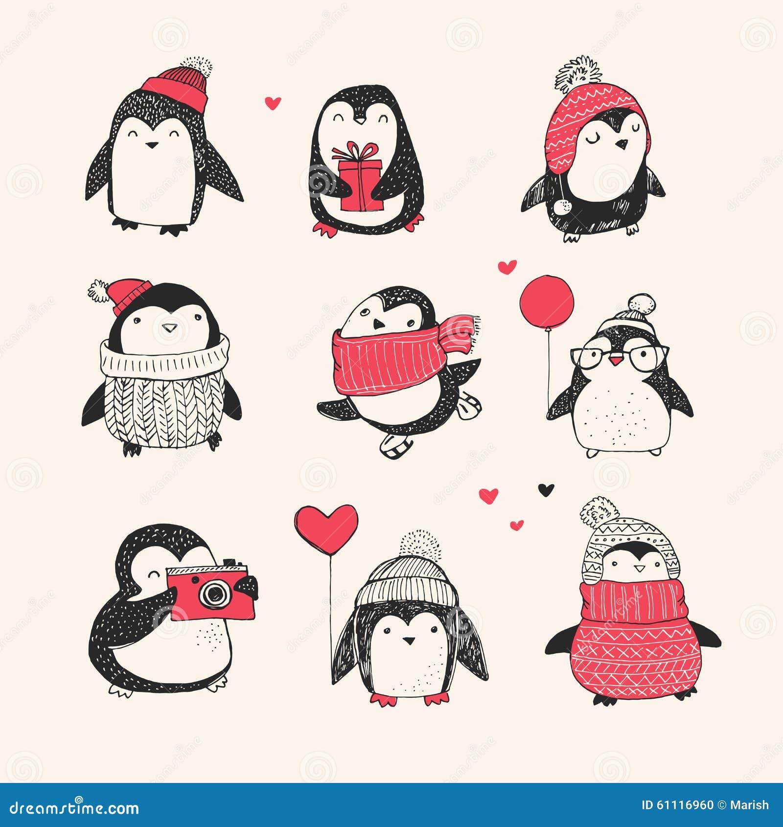 Cute Hand Drawn Penguins Set - Merry Christmas Stock ...