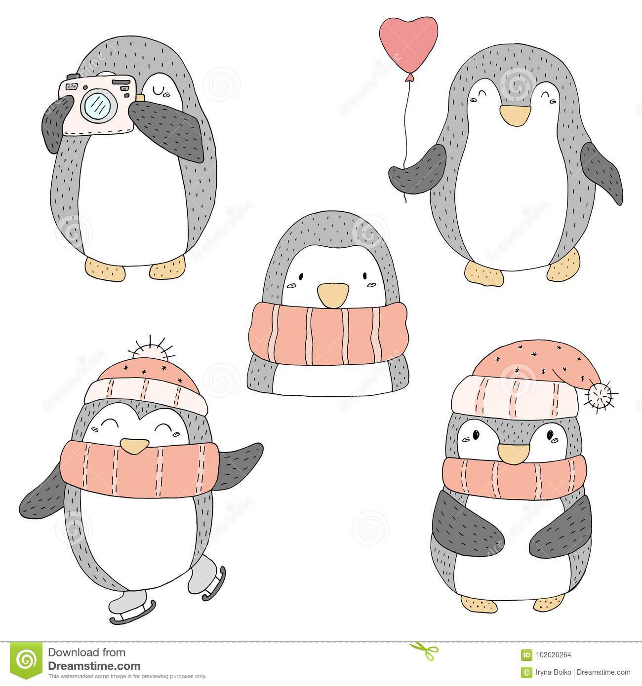 graphic about Penguins Printable referred to as Lovely Hand Drawn Penguins Established . Printable Templates Inventory
