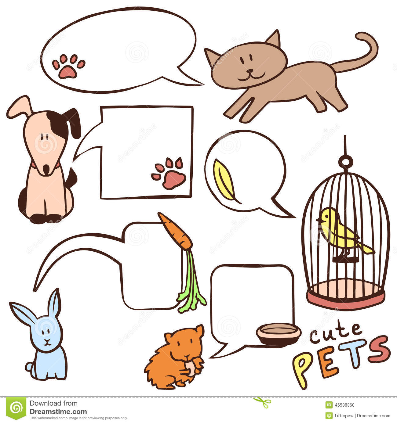 Cute hand drawn pets and speech bubbles