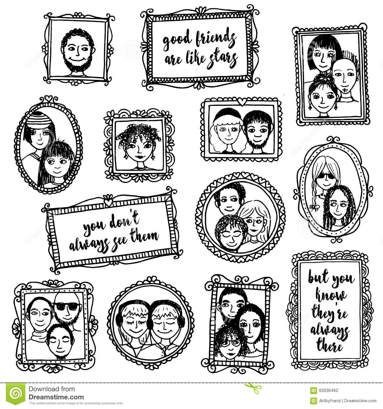 15 A Frames I D Like To Visit: Cute Hand Drawn Picture Frames With People And