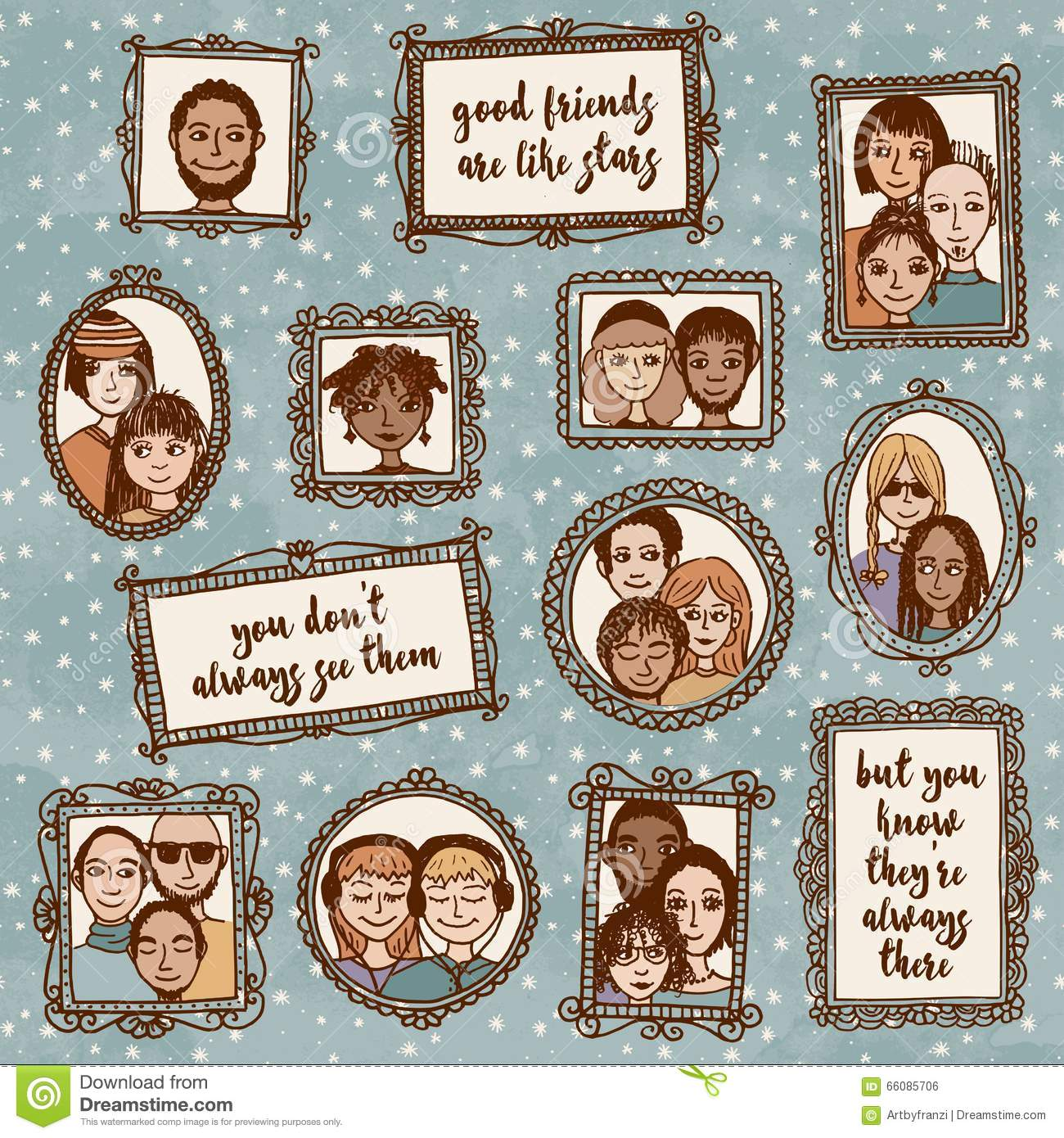 Cute Hand Drawn Picture Frames With People And Inspirational Quote