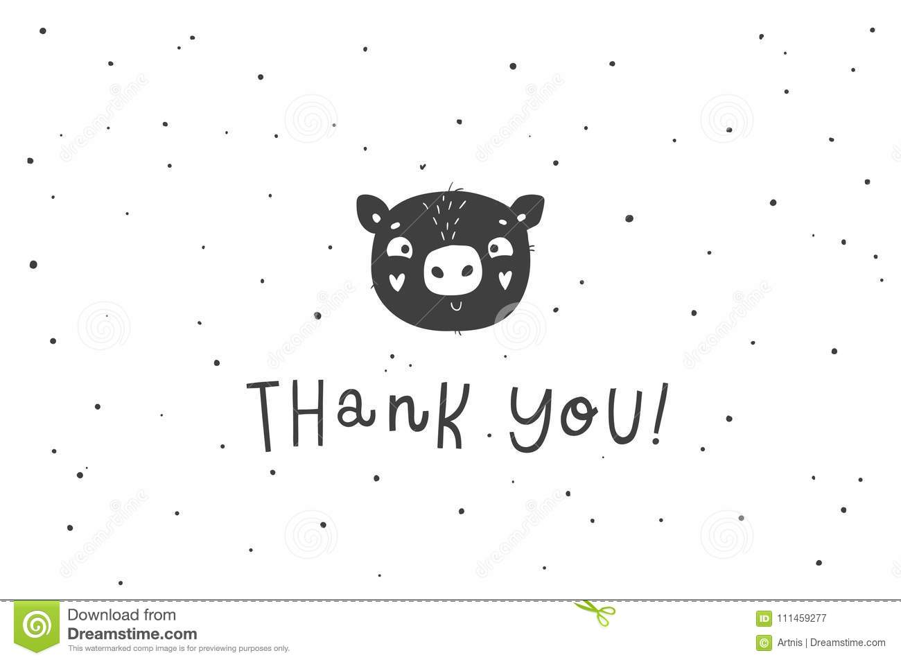 cute hand drawn pig illustration thank you card editorial