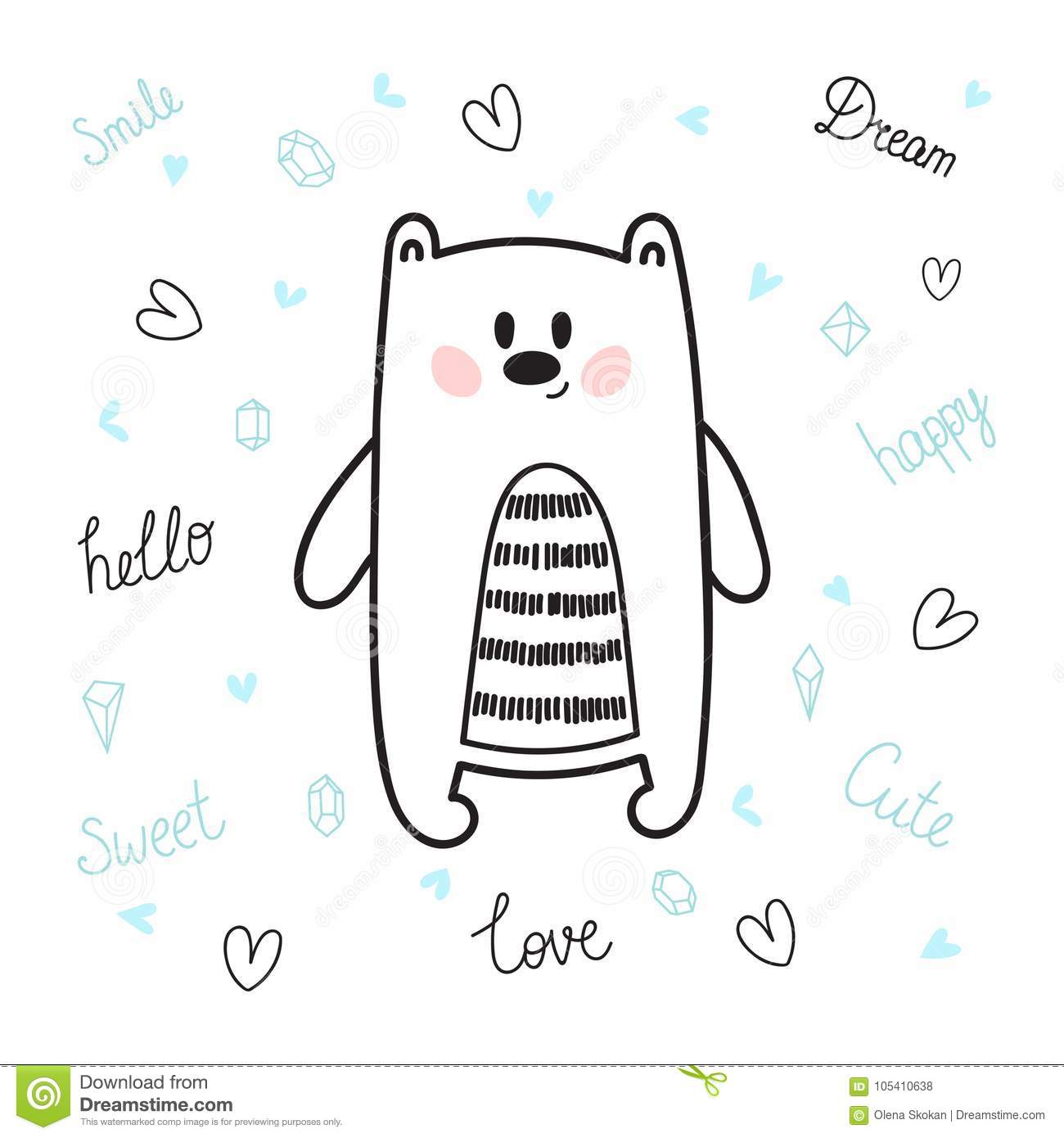 cute hand drawn postcard with funny bear card for little girl or boy template