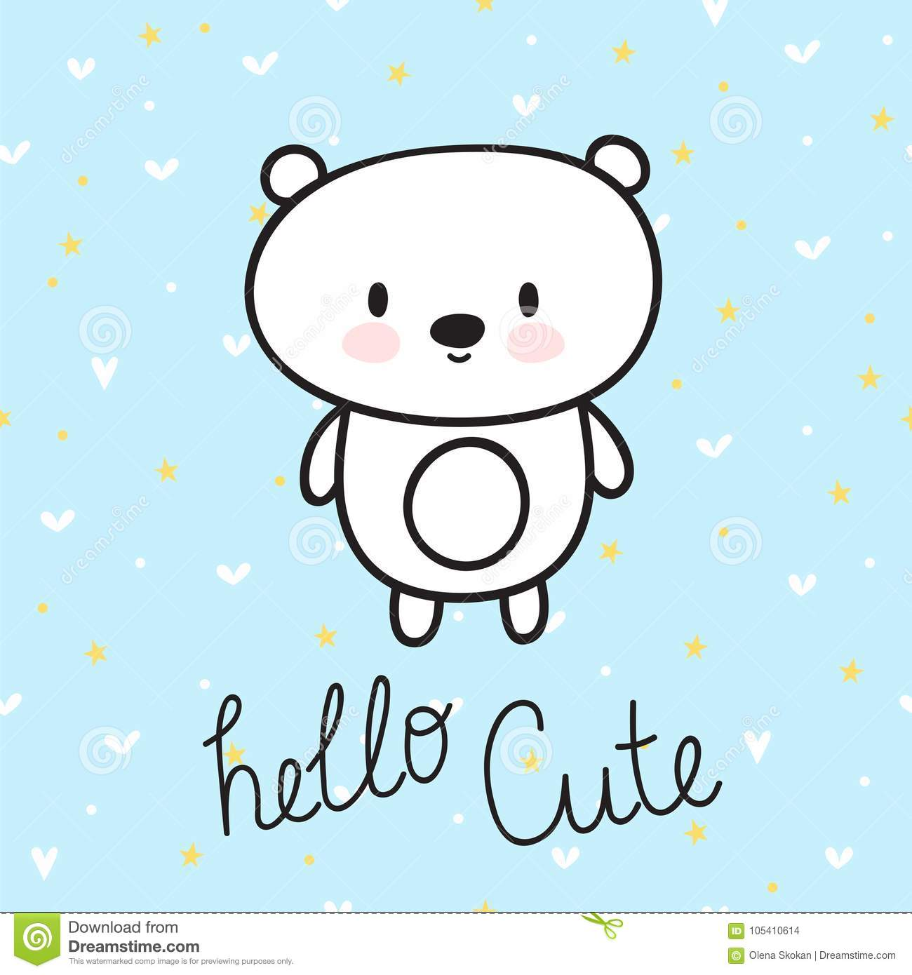 cute hand drawn postcard with funny little bear card for little girl or boy