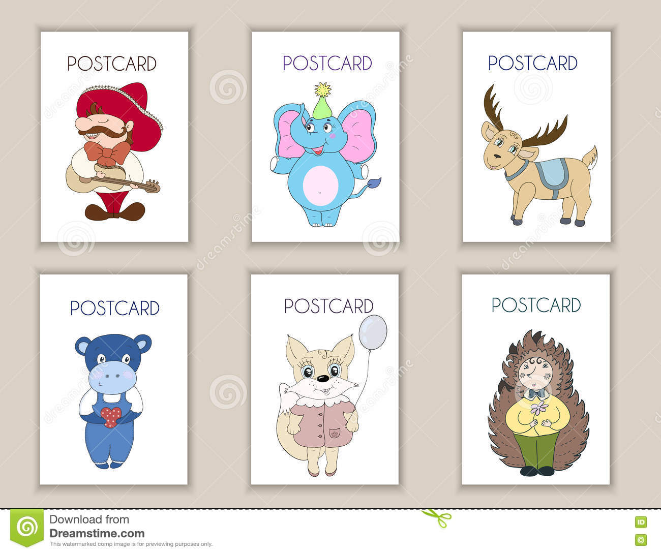 Cute Hand Drawn Postcards Birthday, Party, Baby Shower Cards ...