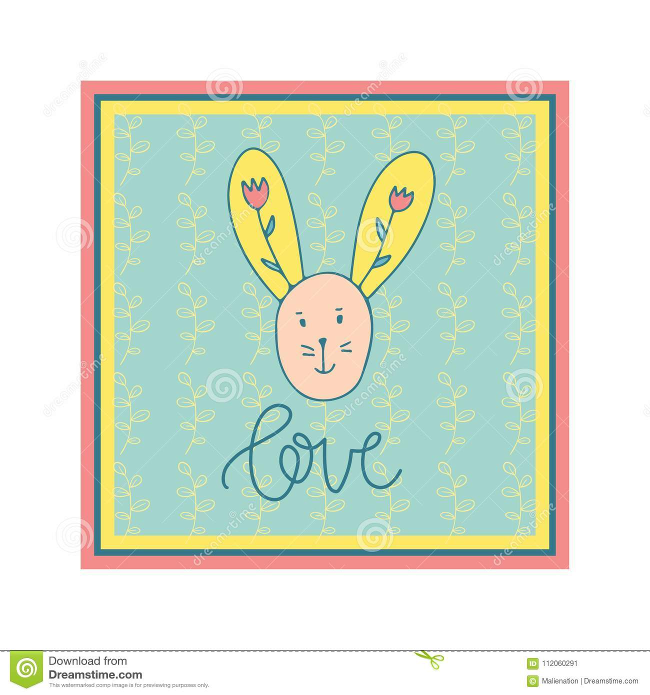Cute Hand Drawn Rabbit Greeting Card For Invitation Save The Date
