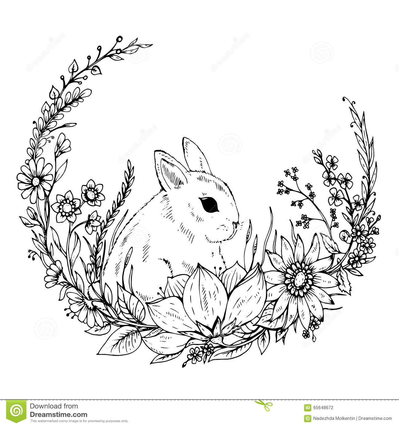 Cute Flower Line Drawing : Cute hand drawn rabbit with wreath of flowers and leafs