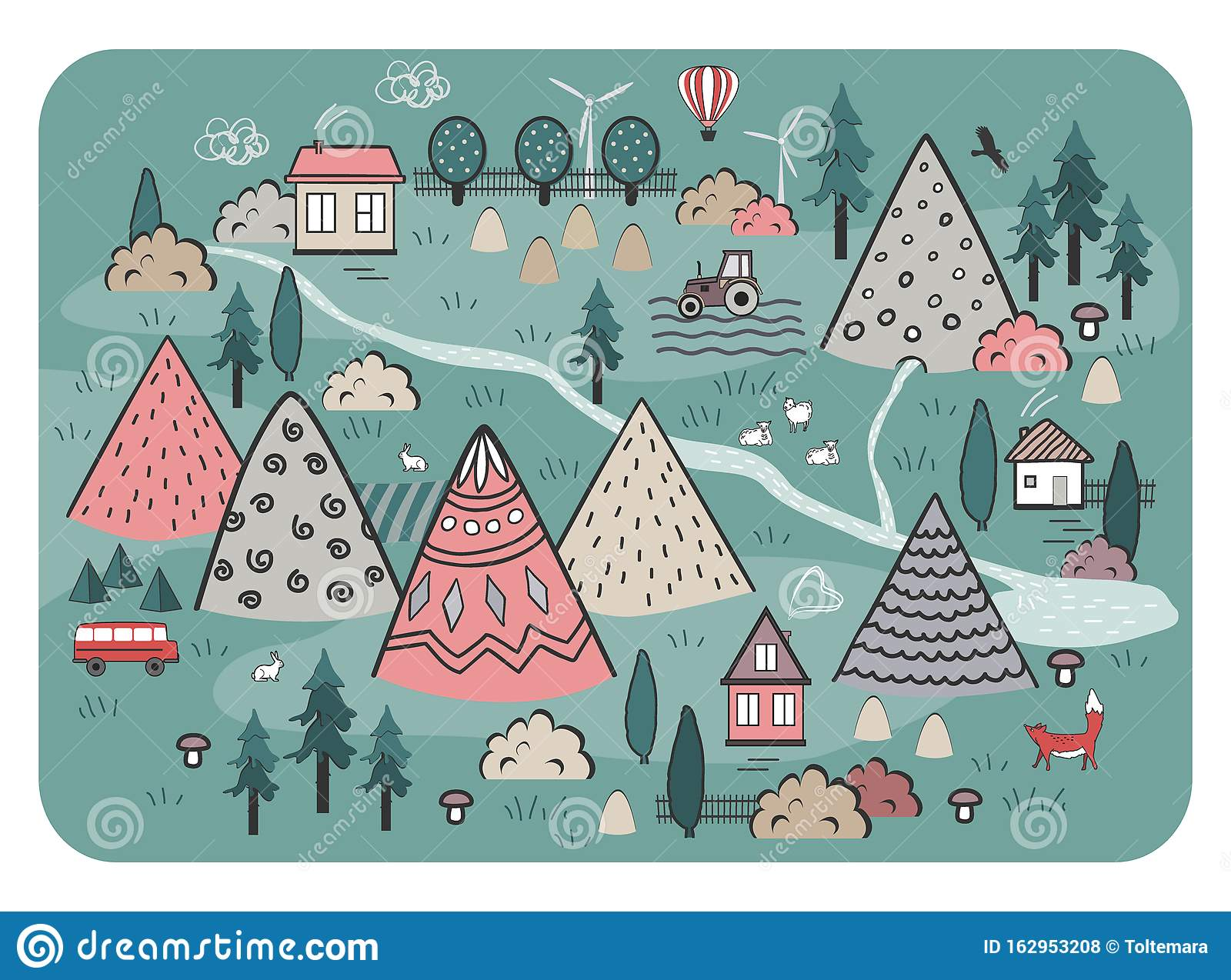 Cute Hand Drawn Scandinavian Vector Background With Houses ...