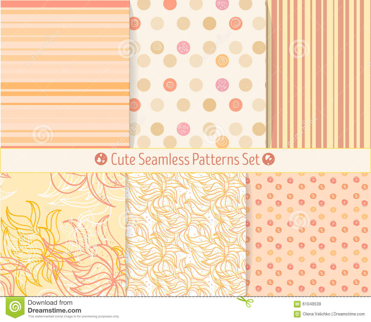 Cute hand-drawn seamless patterns. Endless texture for paper or scrap booking.