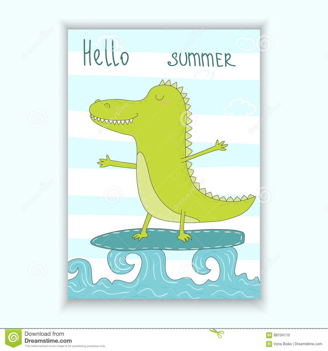 Cute Hand Drawn Vector Card Withsurf Crocodile Afloat Printable Template