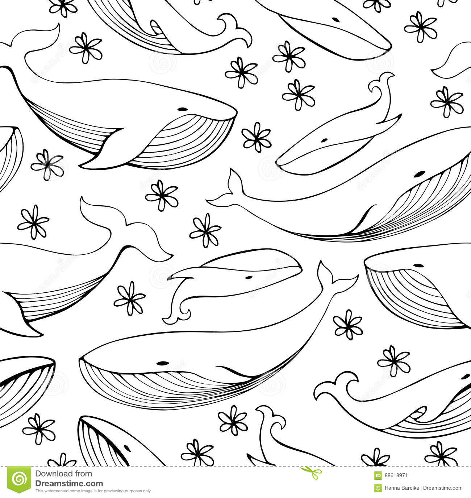 Cute hand drawn whales. Monochrome Vector seamless pattern.