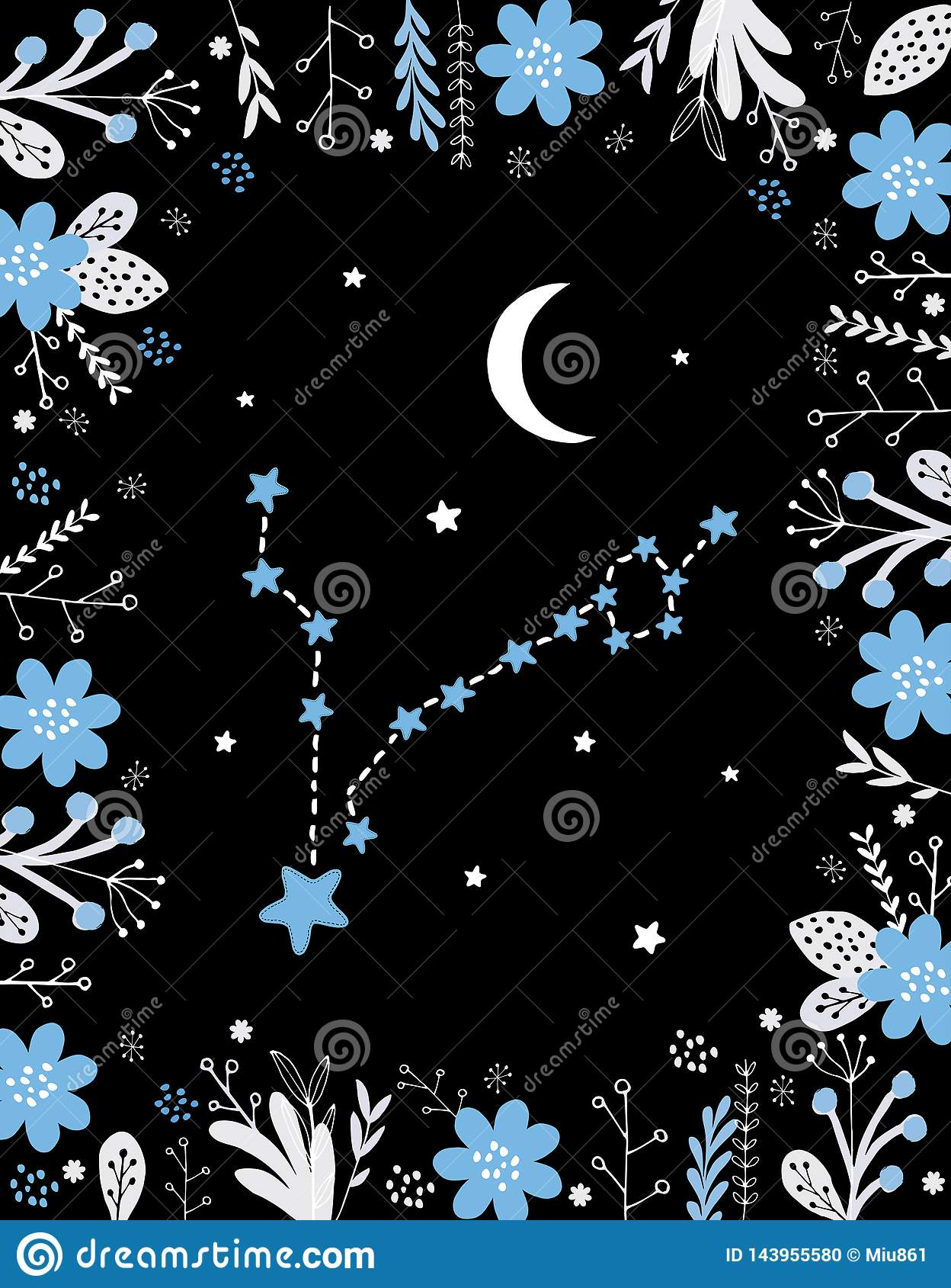 Funny Simple Blue Pisces Vector Sign  Floral Frame, White Moon And
