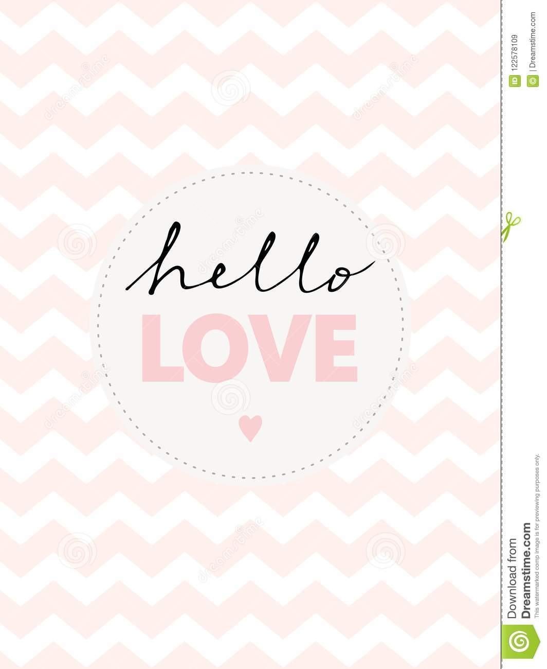 Cute Hand Written Hello Love Vector Illustration.