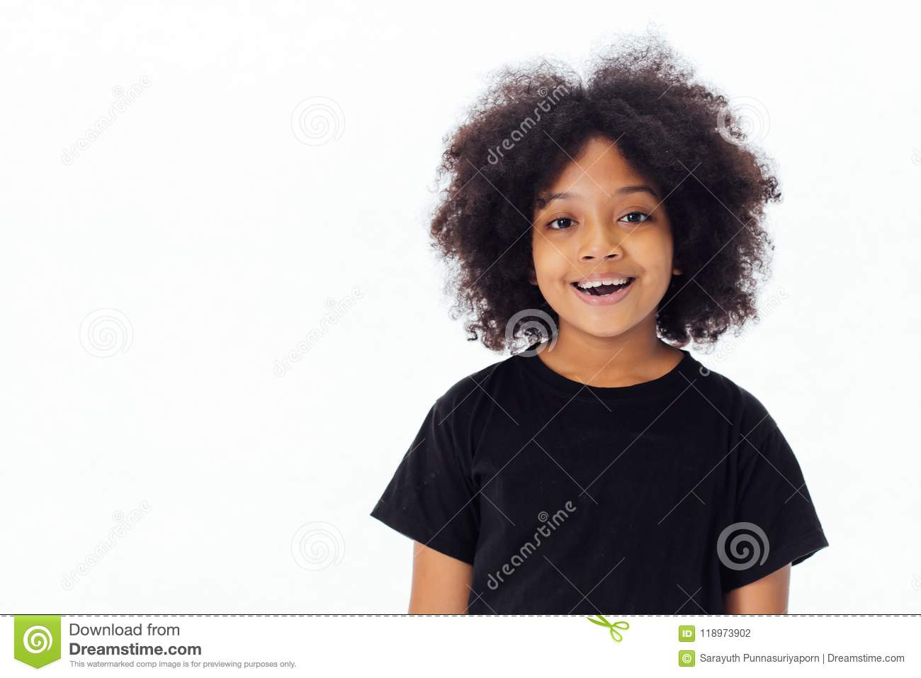 Cute and happy African American kid smiling and laughing isolate