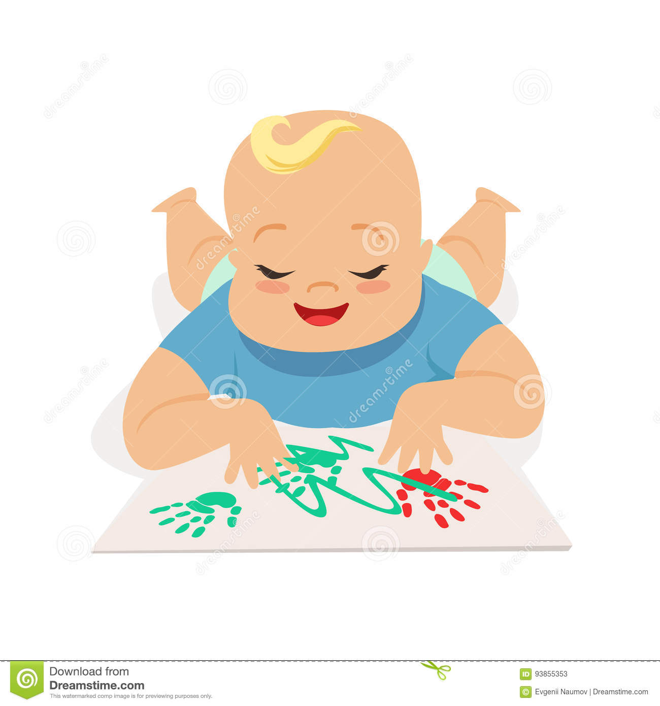 Cute happy baby boy painting by hands, colorful cartoon character vector Illustration