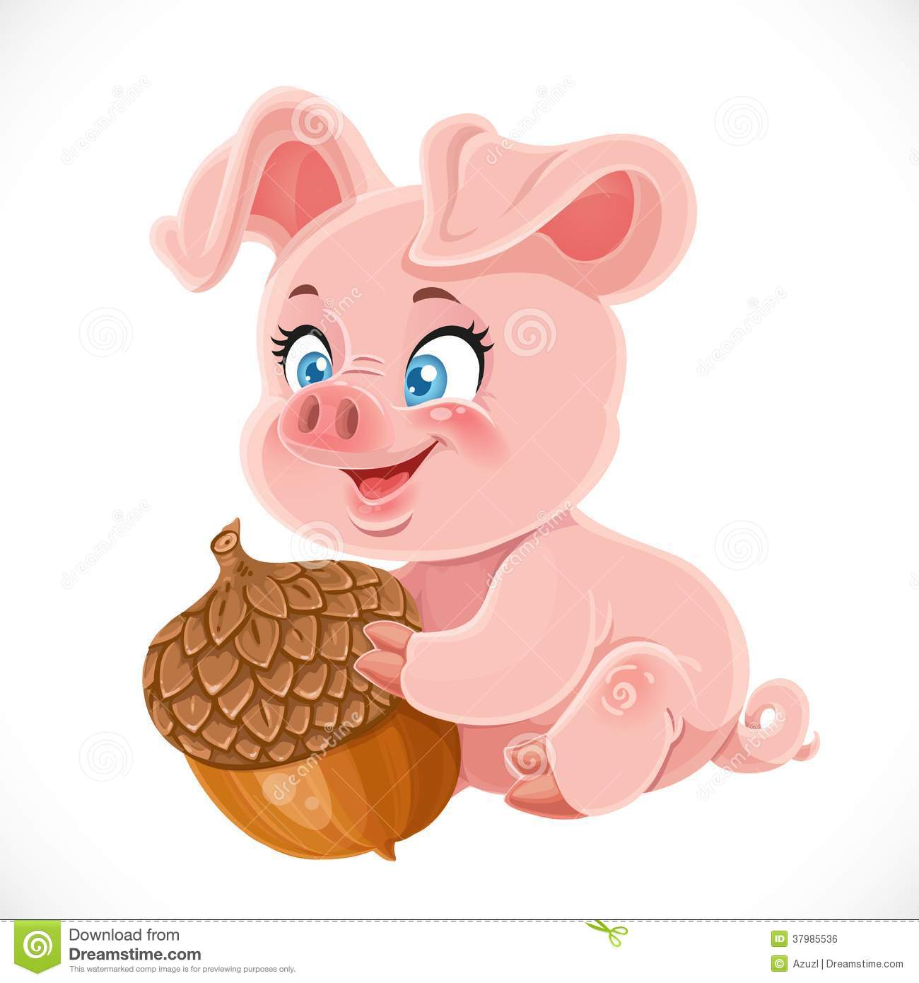 Cute Happy Baby Pig Holding A Large Acorn Royalty Free ...
