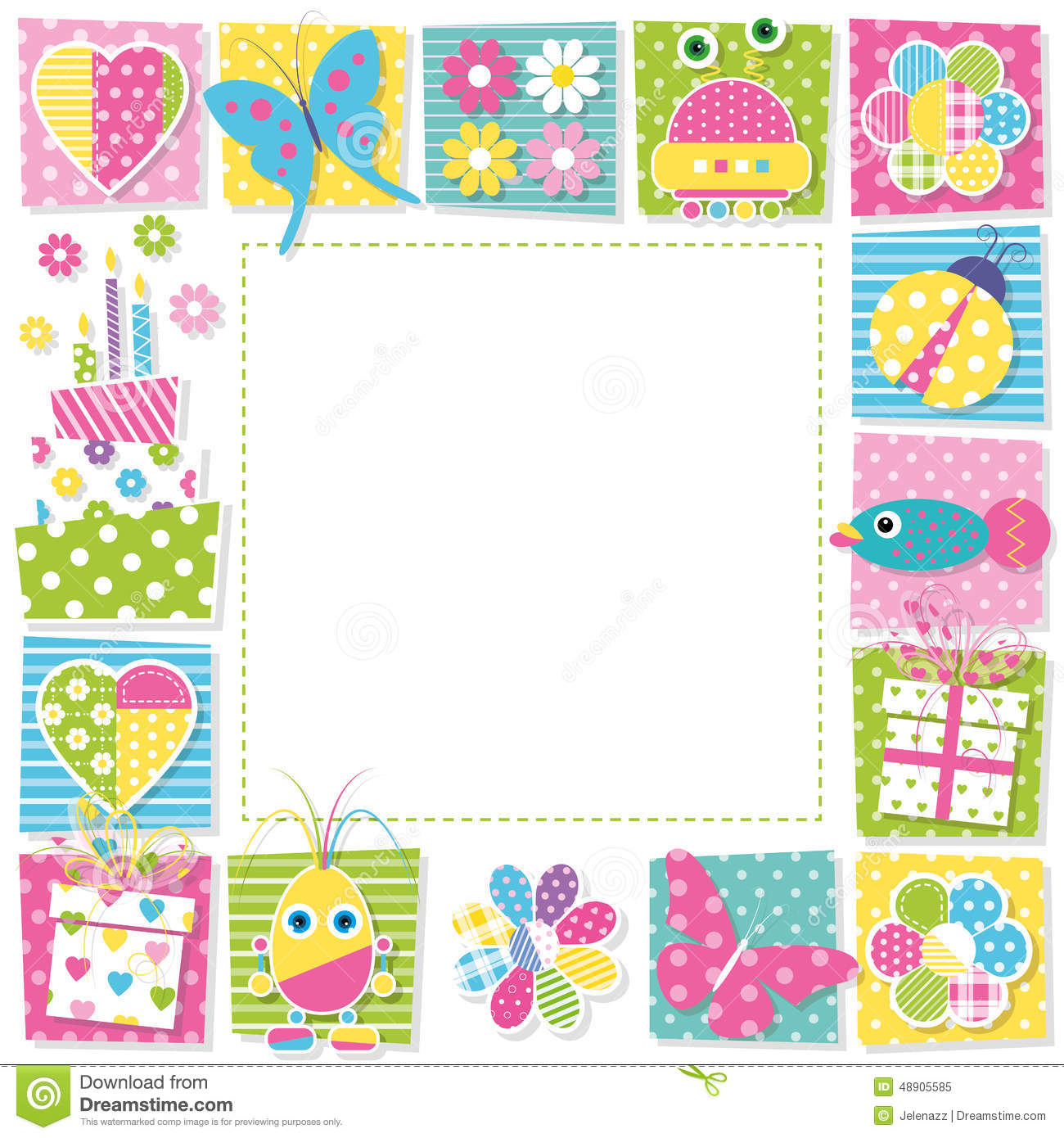 Cute happy birthday border stock vector  Illustration of animal