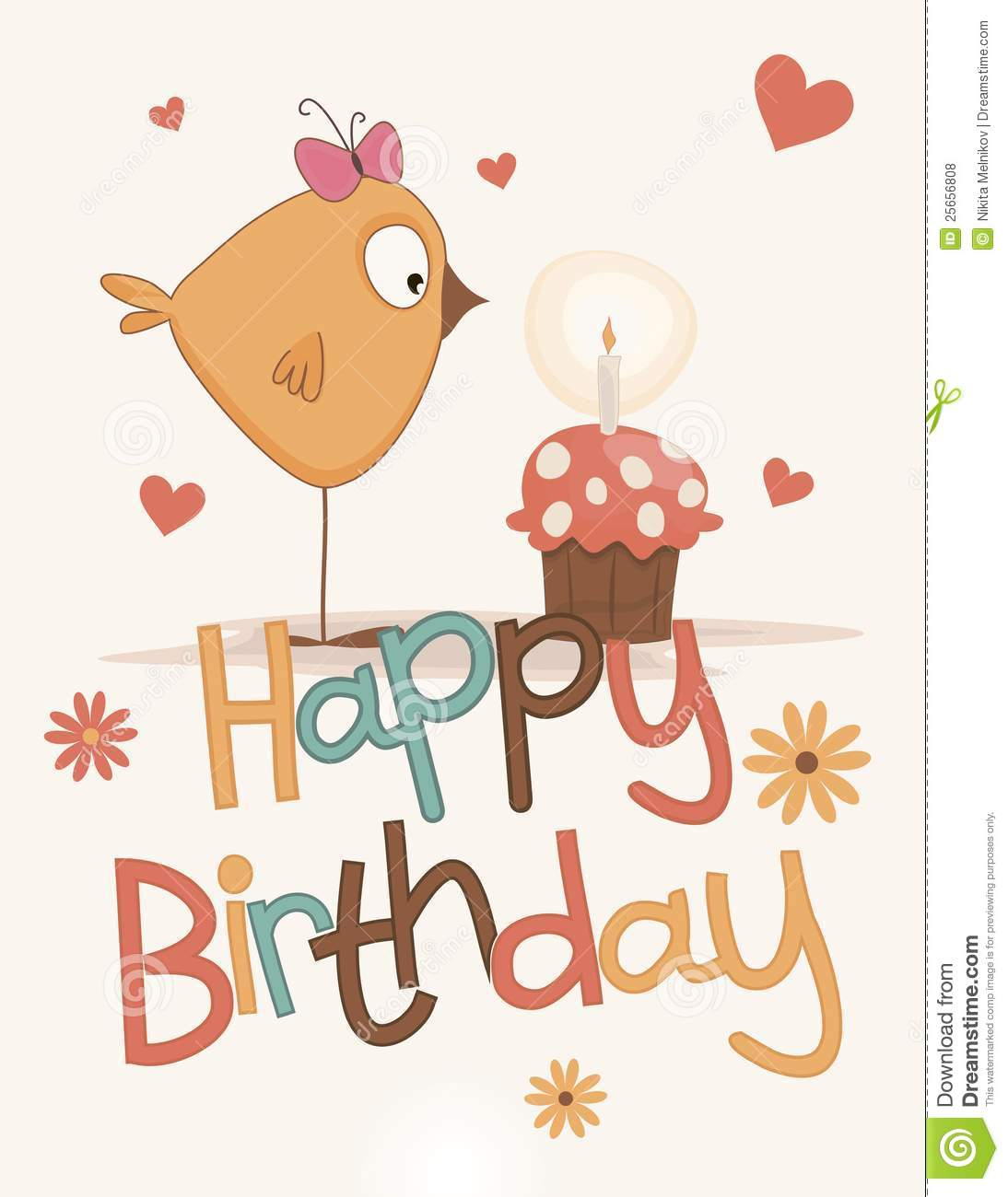 cute happy birthday card stock vector illustration of bright 25656808