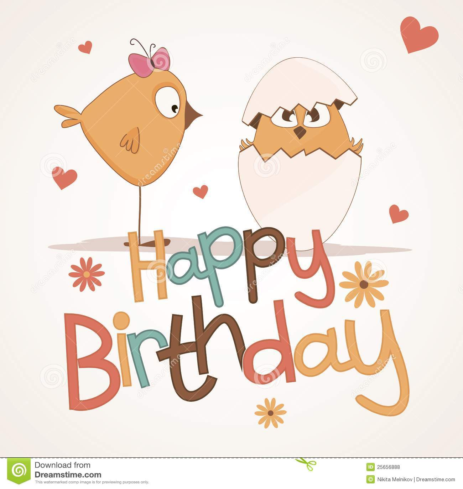 Cute Happy Birthday Card Royalty Free Stock Photos