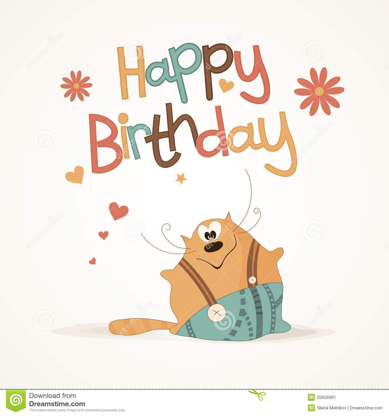 cute happy birthday card stock vector illustration of