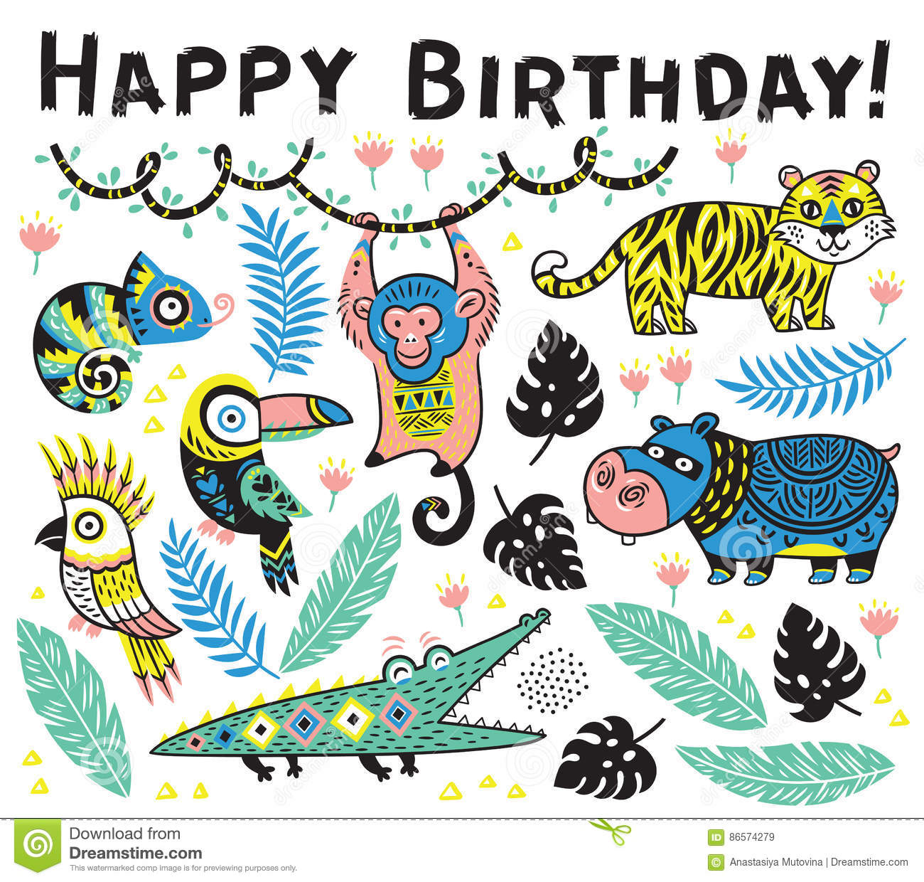 Cute Happy Birthday Card With Cartoon Animals In The Jungle Stock