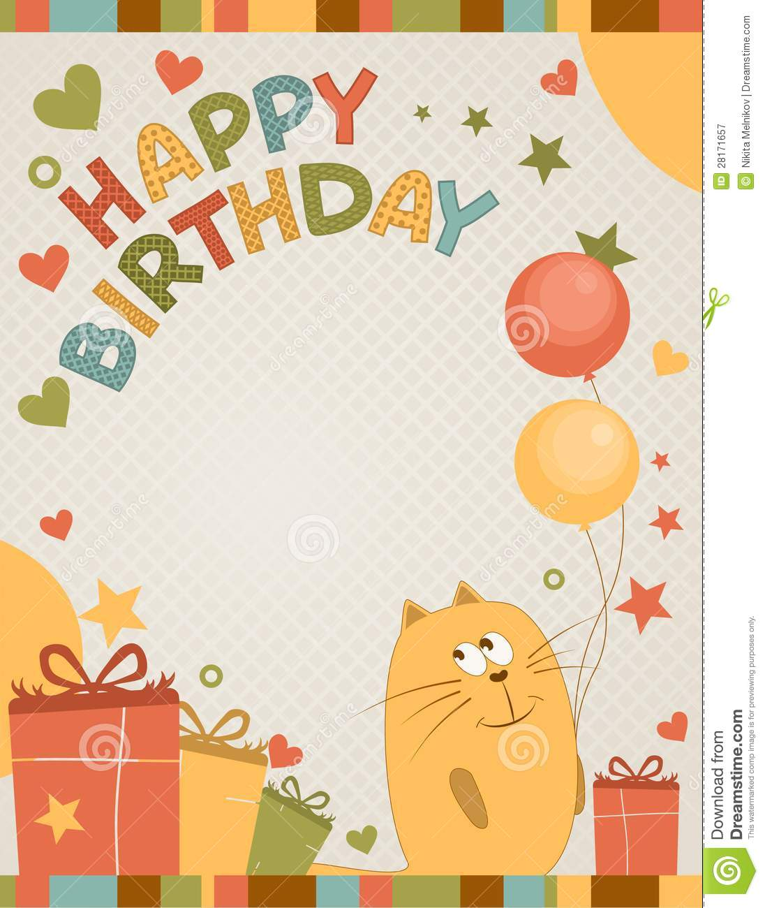 Happy Birthday Card With A Cat And Balloons