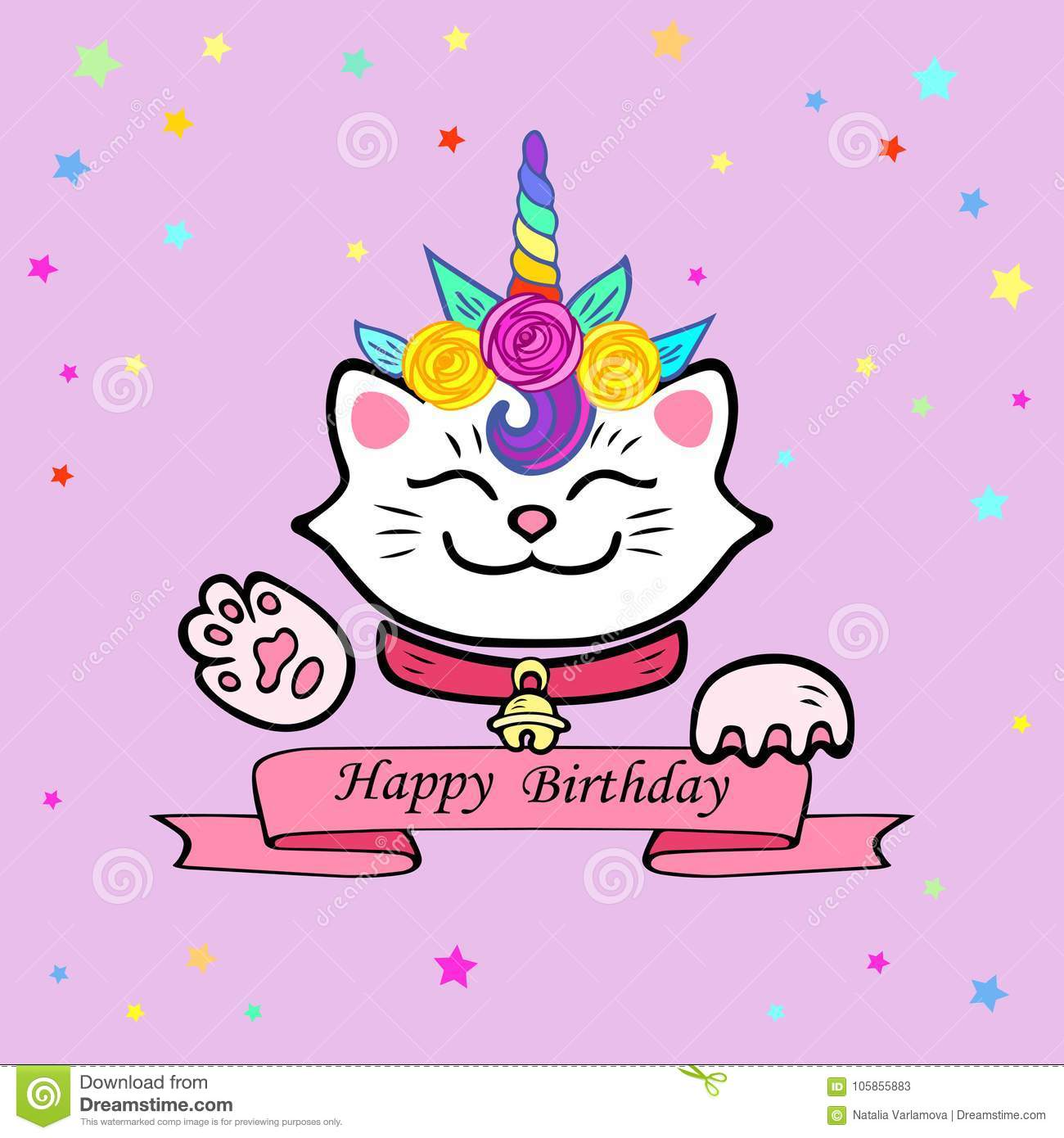 Cute Happy Birthday Card With Cat And Unicorn Tiara