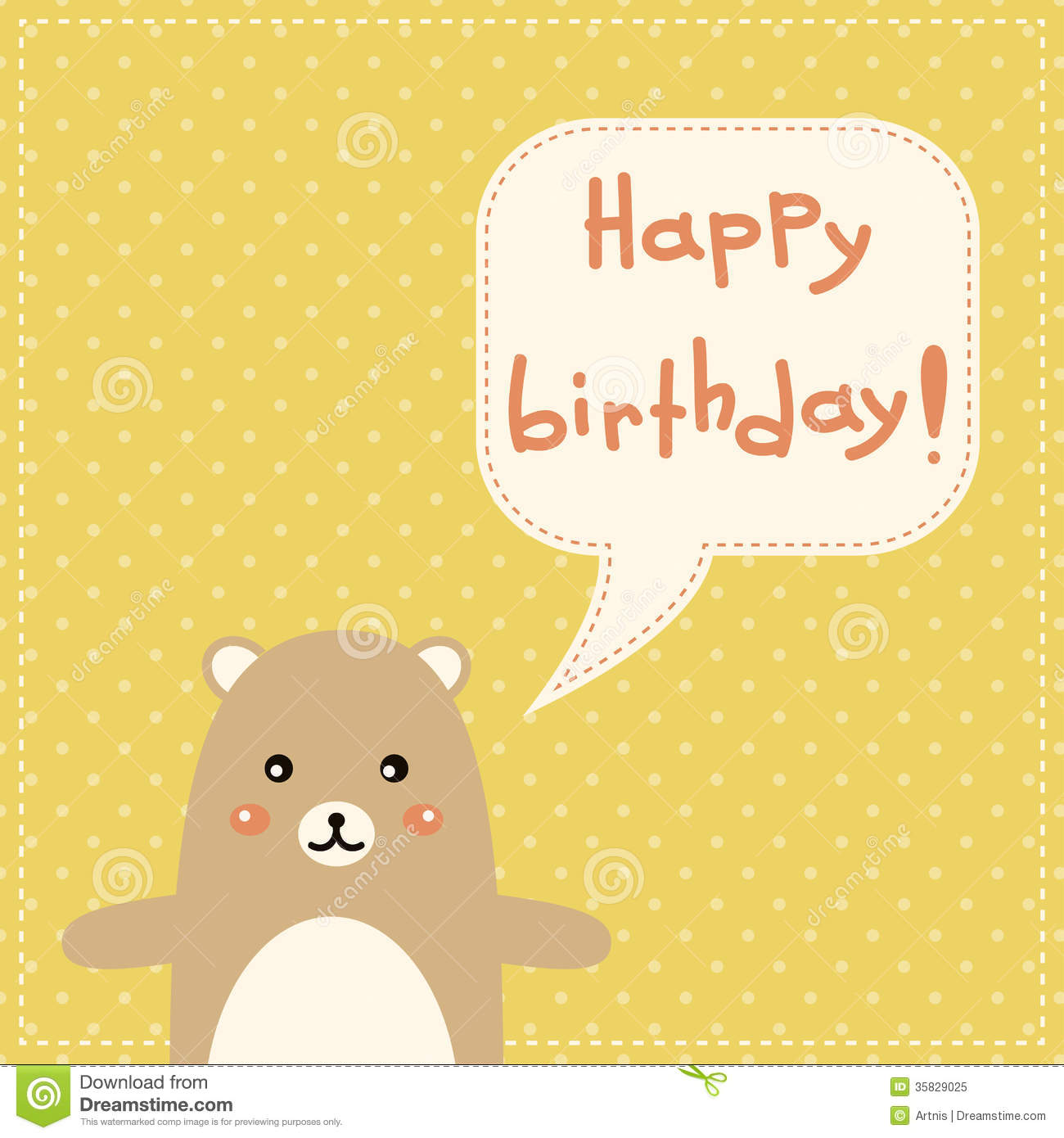 Cute Happy Birthday Card With Fun Bear