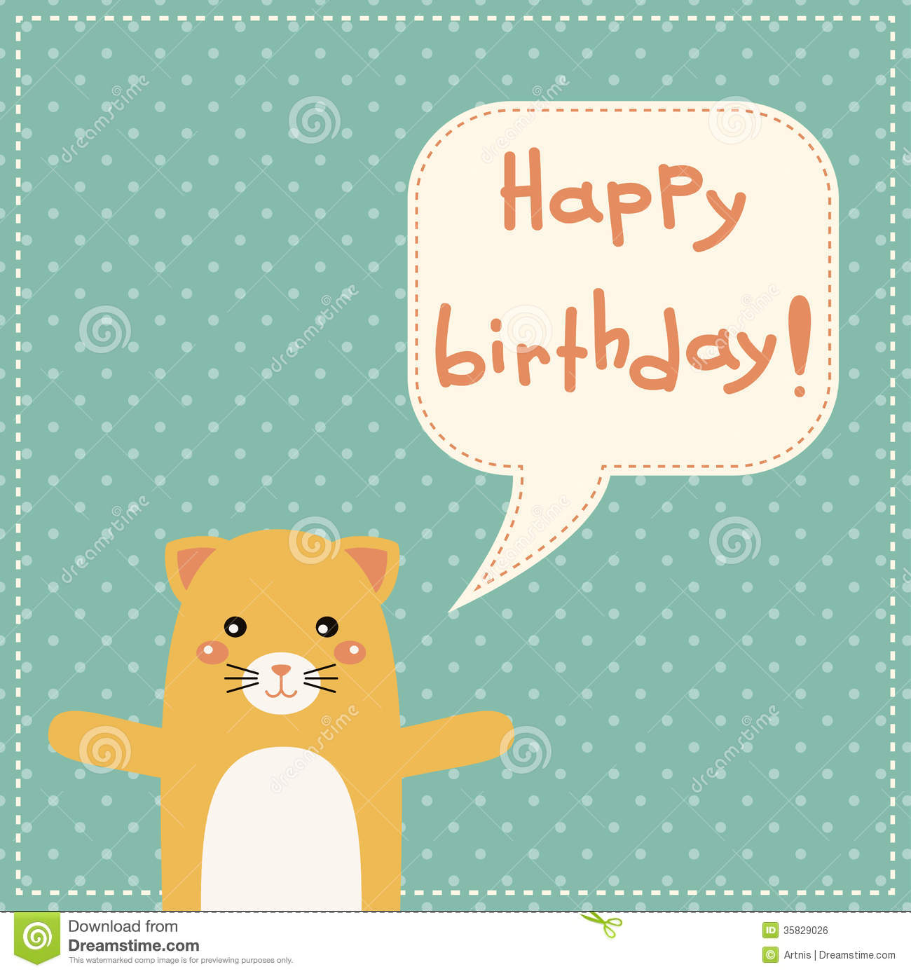 Cute Happy Birthday Card With Fun Cat Vector Image 62174852 – Unique Happy Birthday Greetings