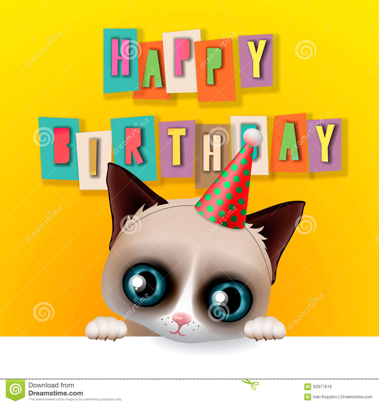 Cute Happy Birthday Card With Fun Grumpy Cat