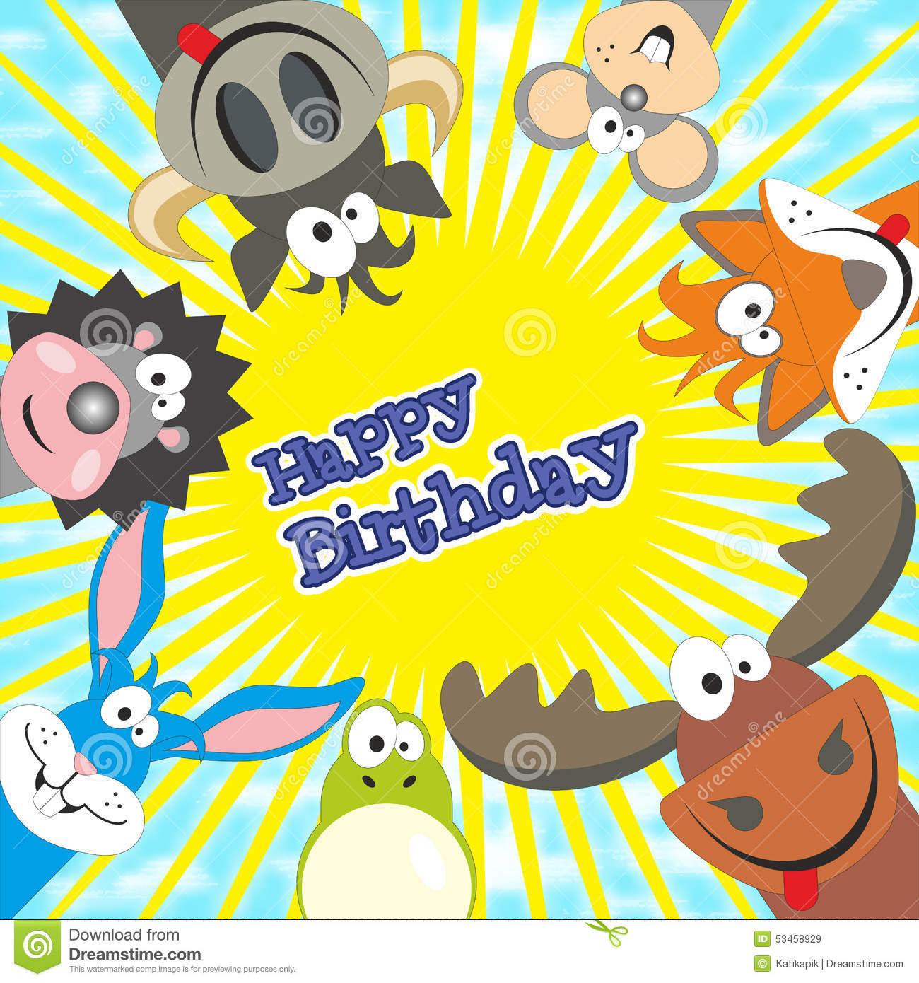 Cute Happy Birthday Card With Funny Animals Elk Cow Hedgehog – Cute Happy Birthday Cards for Friends