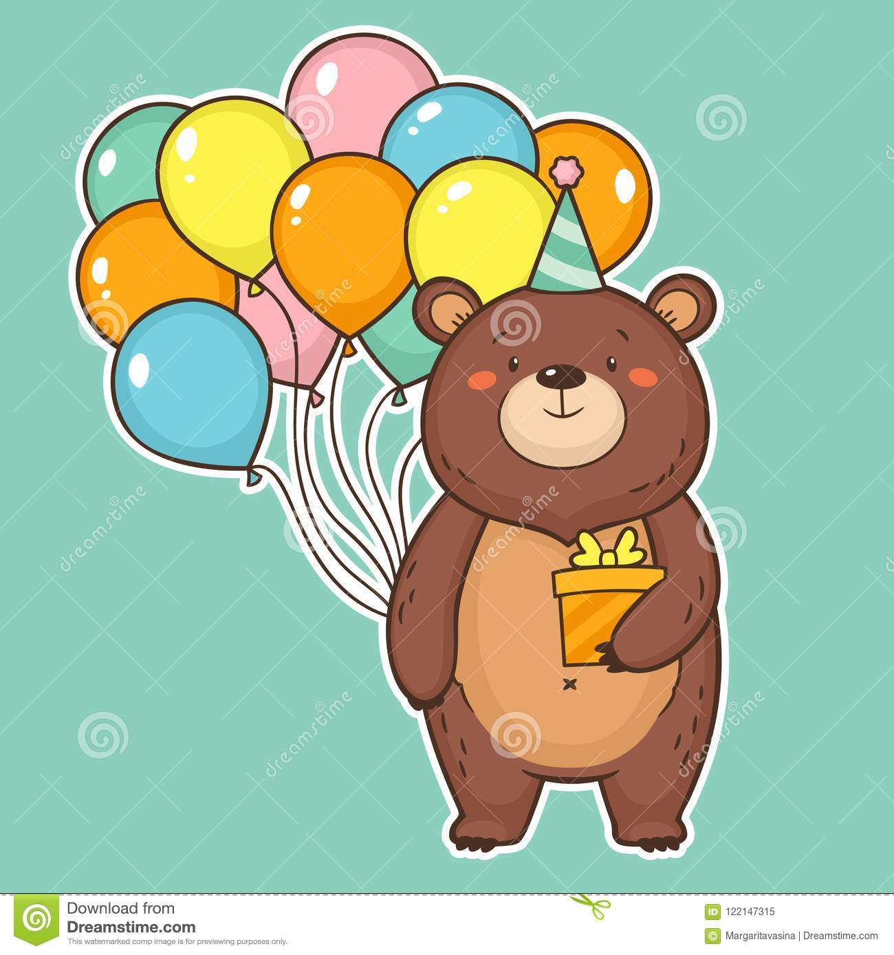 Cute Happy Birthday Card With Funny Bear Holding Air Balloons And A Gift Box Colorful Greeting Vector Illustration