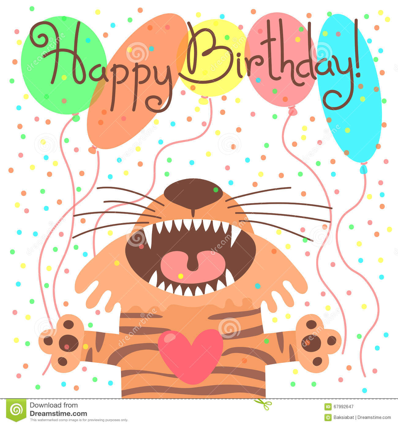 Cute happy birthday card with funny tiger.