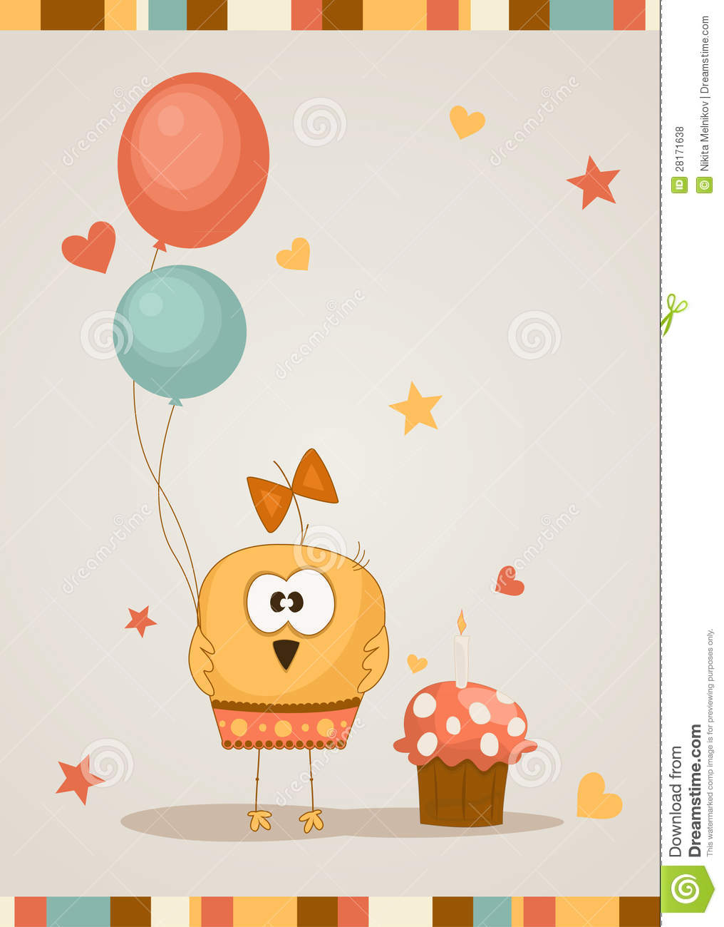 Cute happy birthday card. Vector illustration. This is file of EPS8 ...