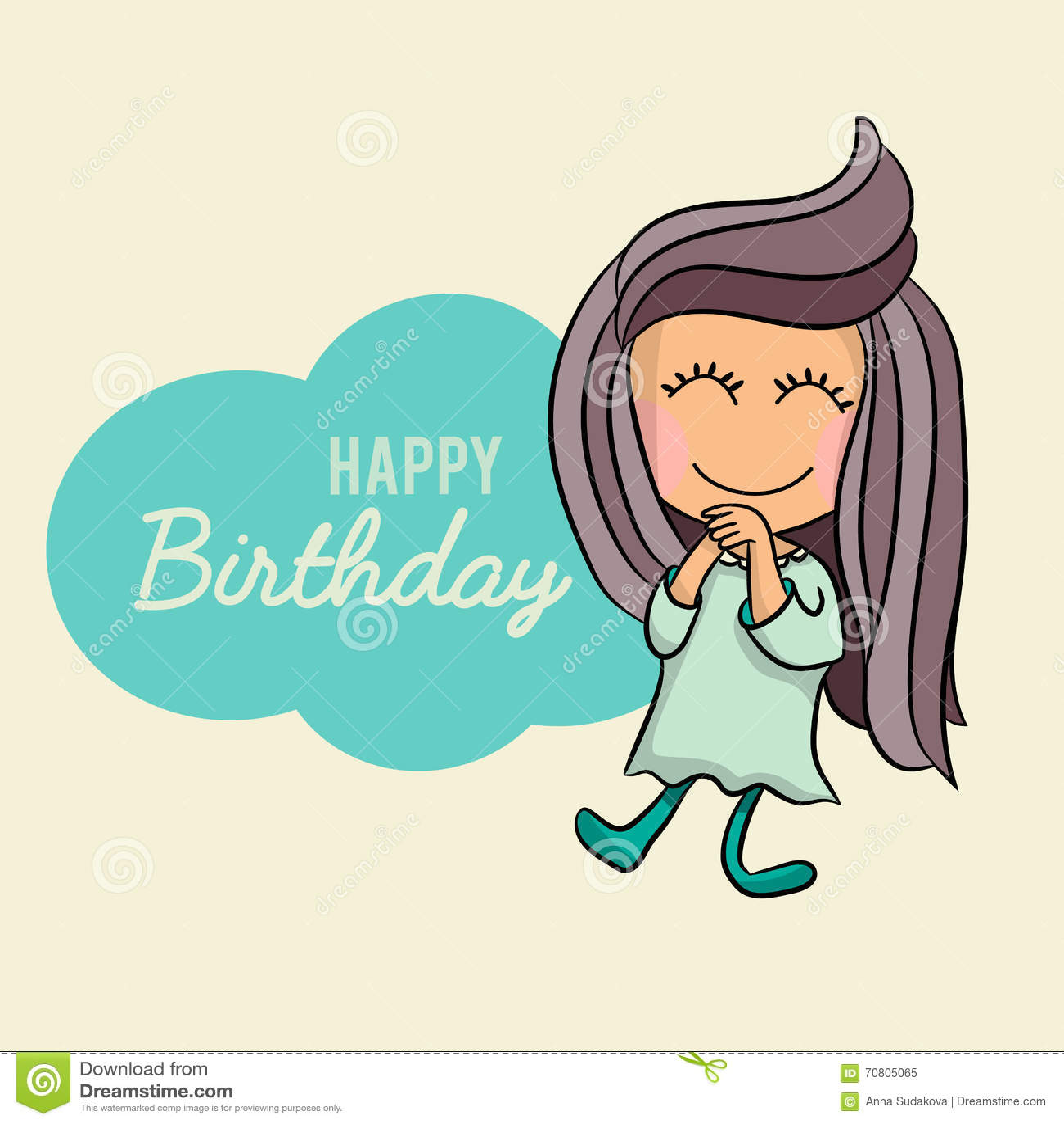 Cute Happy Birthday Cartoon Greetings Card, Postcard