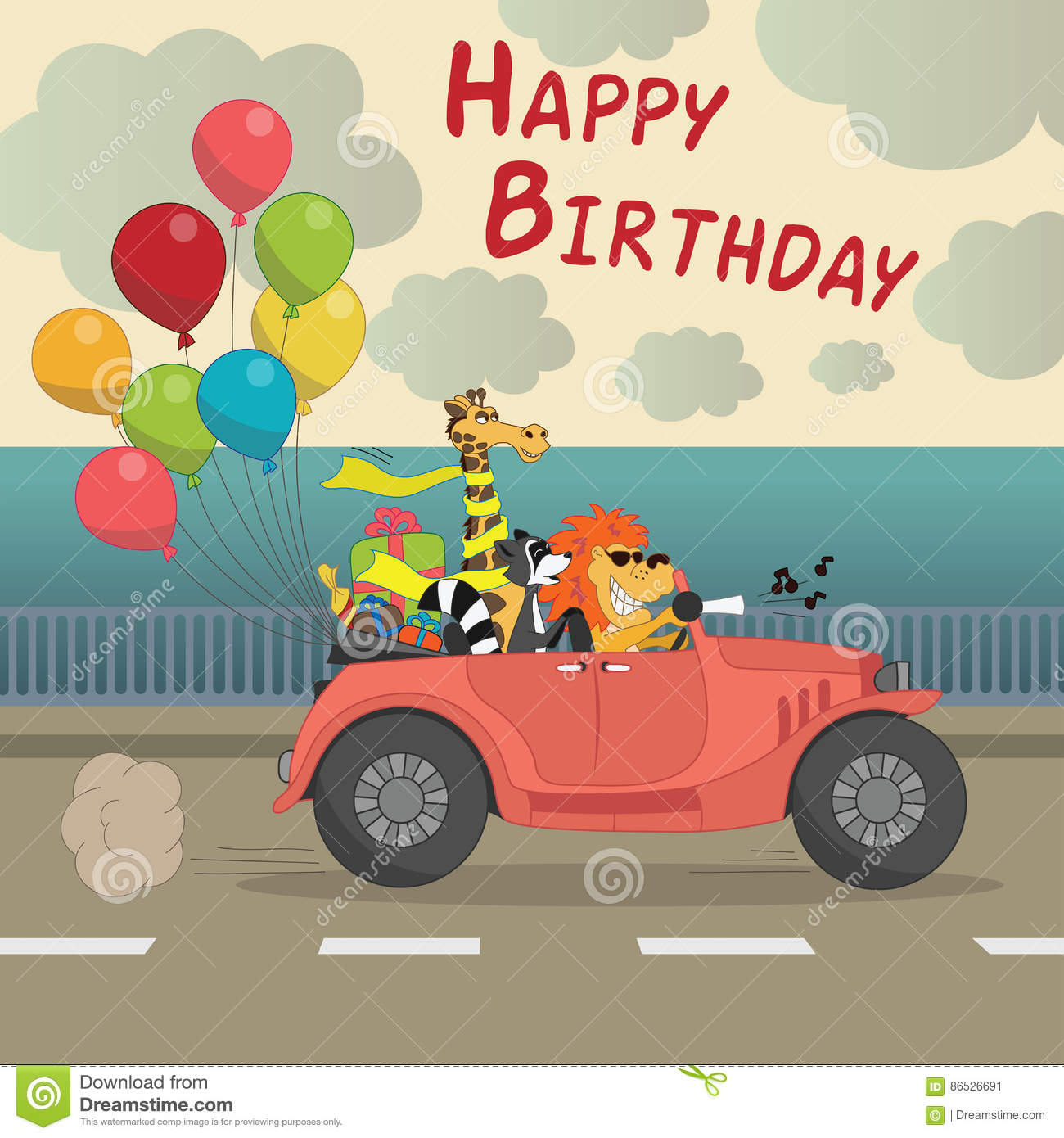 Cute Happy Birthday Greeting Card For Child Fun Cartoon Style There Are Gifts Funny Animals In The Car Cabriolet With Balloons Vector Illustration